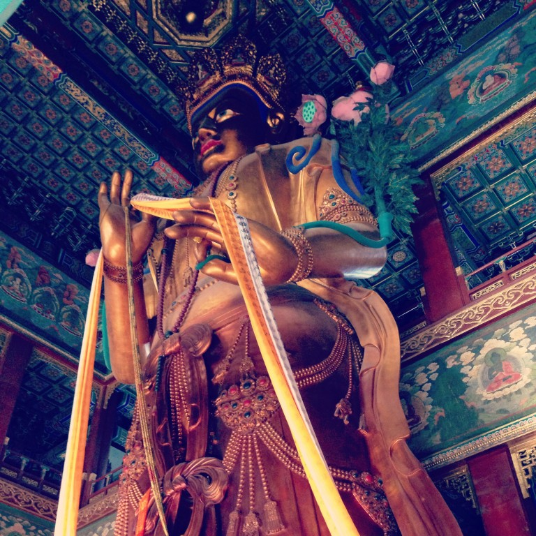 On high: this buddha, at the Temple of Heaven is 90 feet tall, and is said to have been crafted from a single piece of sandalwood.