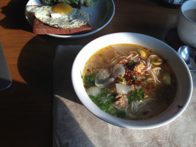 Burmese noodle soup. For breakfast.