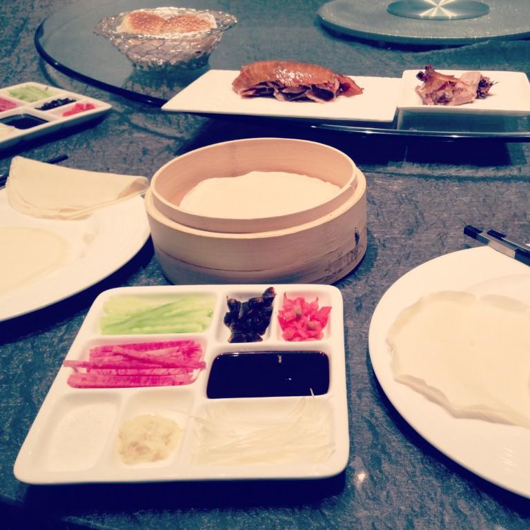 Peking duck feast at Da Dong Roast Duck Restaurant. Almost like a taco, but not.