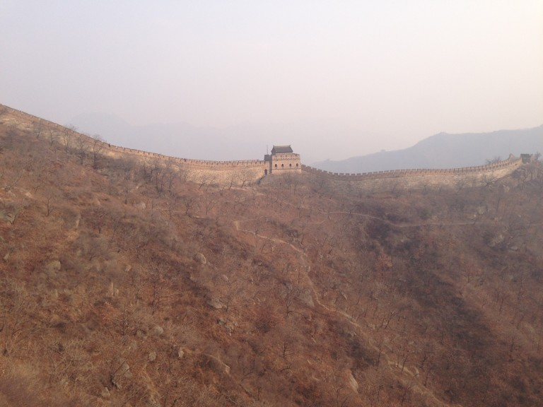 The ascent to the Great Wall of China.