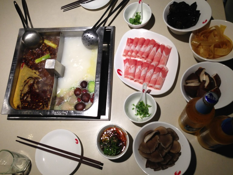 Hot pot initiation at Haidilao- just pick your favorite ingredients, hit the sauce bar and get cookin'.