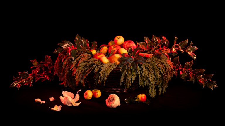 <em>For Safety in Travel</em>, 2013 apple, cedar, cinnamon, holly, garlic Archival Pigment Print, 20.25