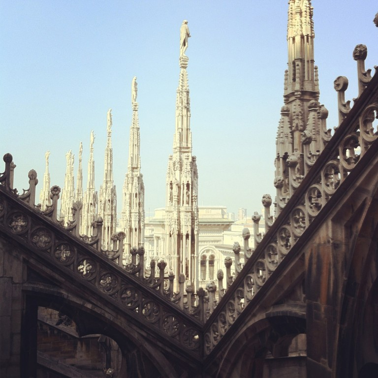 The top of the Duomo, at the heart of the city of Milan is a vast and intricate exoskeleton of carved marble.