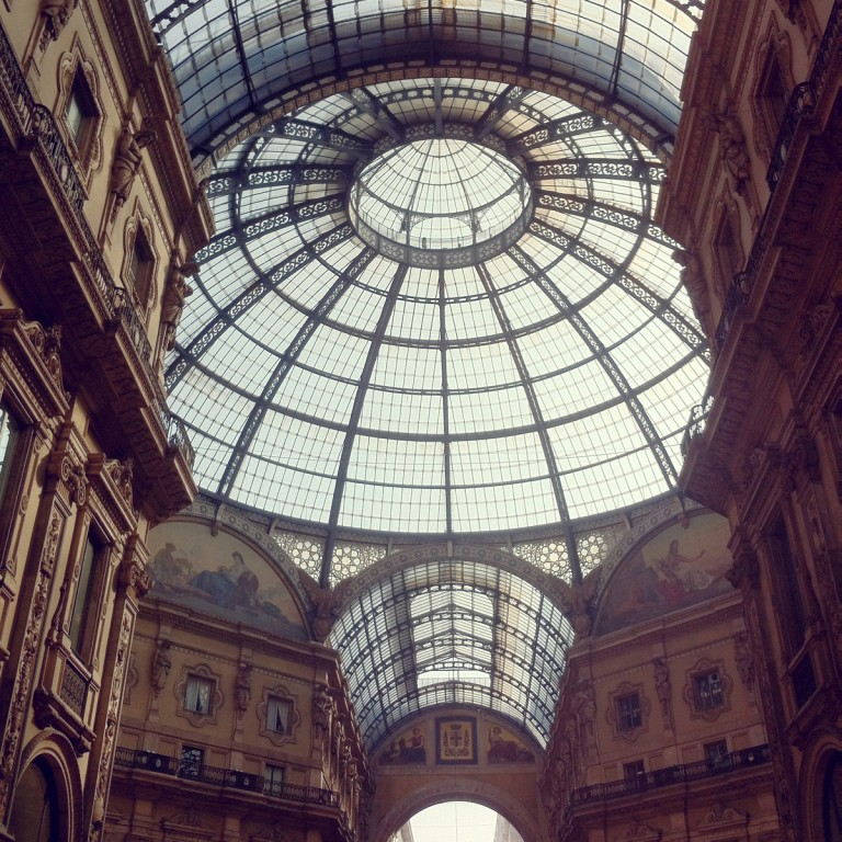 This beautiful glass dome covers a large, open air mall, called the Galleria Vittorio Emanuele II.