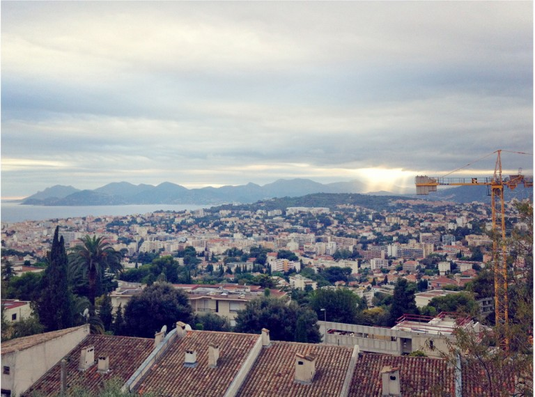 Cannes, as seen from a walking path in Le Cannet