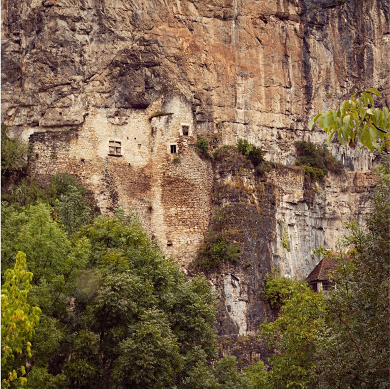 We travelled to the Lot Valley to see the prehistoric cave paintings at Pech Merle, an experience that was powerful beyond words. They do not allow photos inside the cave. The cliffs of Cabrerets, the village nearest to the caves, are lined with the ruins of a medieval castle.